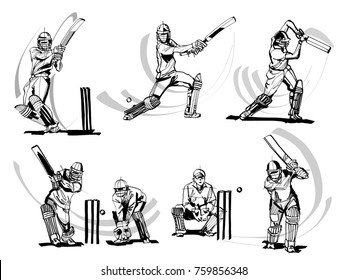 vector illustration of cricket players