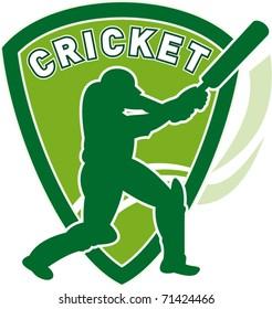 vector illustration of a cricket sports player batsman silhouette batting set inside shield