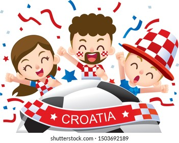 Vector illustration of Croatia football fans characters celebrating