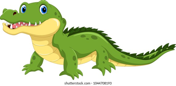 Vector illustration of crocodile cartoon isolated on white background