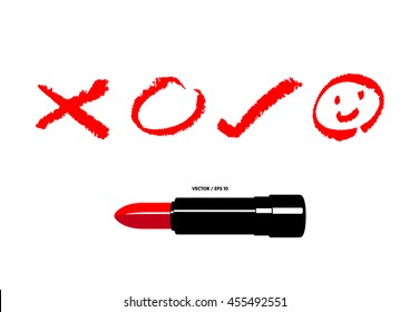 Vector illustration of cross, circle, check and smile icons drawn by a red lipstick.
