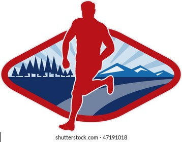 vector illustration of a Cross country runner with landscape and sunburst