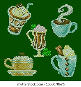 vector illustration cross stitch coffee