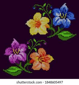 vector illustration cross stitch floral ornament