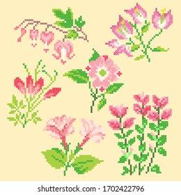 vector illustration cross stitch flowers