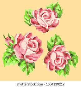vector illustration cross stitch roses