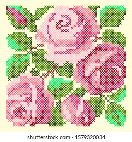 vector illustration cross stitch roses