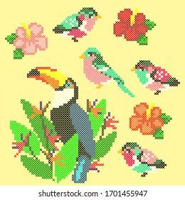 vector illustration cross stitch tropical birds