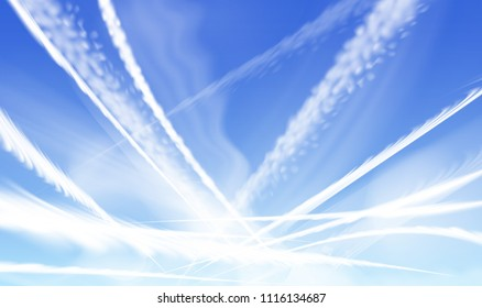 Vector illustration of crossed airplane condensation trails, jet contrails of aircraft slightly dispelling, on blue sky background