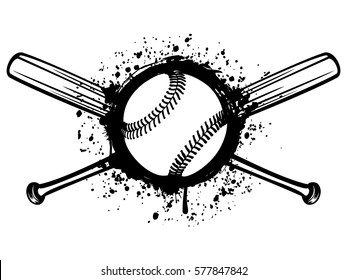 Vector illustration crossed baseball bats and ball on grunge background. For tattoo or t-shirt design.