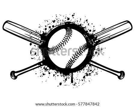 Vector Illustration Crossed Baseball Bats Ball Stock Vector Royalty