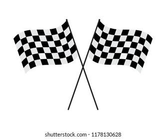Vector illustration crossed checkered flag on white background