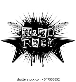 Vector illustration crossed guitars and lettering hard rock on grunge background