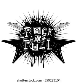 Vector illustration crossed guitars and lettering rock and roll on grunge background
