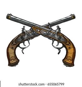 Vector illustration. Crossed old flintlock pistols