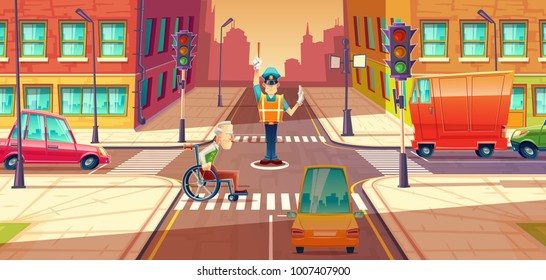 Vector illustration of crossing guard adjusting transport moving, city crossroads with pedestrian, disabled person. Urban highway regulation, crosswalk with traffic lights, machines