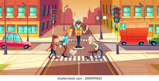 Vector illustration of crossing guard adjusting transport moving, city crossroads with pedestrians, disabled people. Urban highway regulation, crosswalk with traffic lights, machines