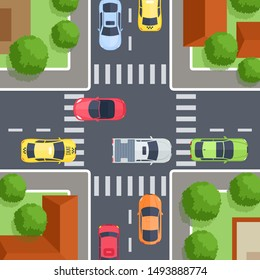 Vector illustration of crossroad top view with sidewalk, crosswalk, cars, trees and house. Street urban  concept in flat cartoon style for map, web, banner. City infrastructure. Top view of the city.