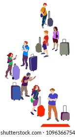 Vector illustration of a crowd of people staying in queue.