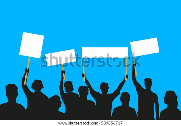 Vector illustration of the crowd that is maintaining its attitude on blue background.