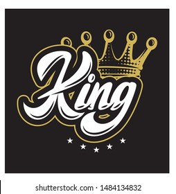 Vector illustration with crown and calligraphic inscription King.