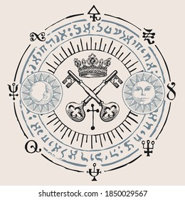 Vector illustration with crown, old crossed keys and magical symbols in retro style. Sun and moon signs