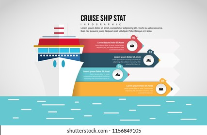 Vector illustration of Cruise Ship Stat Infographic design element.