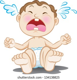 Vector illustration of a crying baby. Created in Adobe Illustrator and saved in EPS 10. Image contains radial gradient.