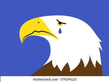 Vector illustration of a crying bald eagle representing a concept of the declining state of America. A national symbol.