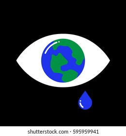 Vector illustration of a crying eye with the earth inside on black background. The sadness and tear drop representing the concept of global financial crisis and global warming. Hopelessness.