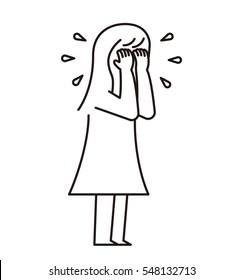 Vector illustration - crying girl