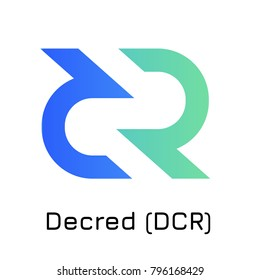 Vector illustration crypto coin icon on isolated white background Decred (DCR). Name of the crypto currency and the short trade name on the exchange. Digital currency