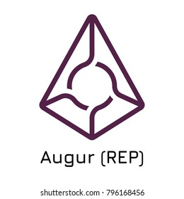 Vector illustration crypto coin icon on isolated white background Augur (REP). Name of the crypto currency and the short trade name on the exchange. Digital currency