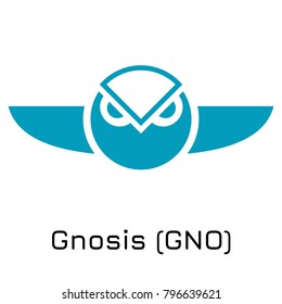 Vector illustration crypto coin icon on isolated white background Gnosis (GNO). Name of the crypto currency and the short trade name on the exchange. Digital currency