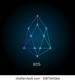 Vector illustration crypto icon on  background. EOS is a new blockchain platform of the crypto currency on the exchange