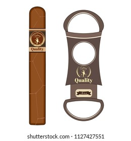 Vector illustration of cuban cigar with label and cigar cutter isolated on white background. Flat style design.