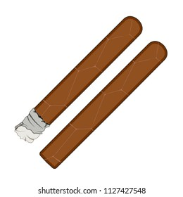 Vector illustration of cuban cigars isolated on white background. Flat style design.
