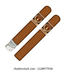 Vector illustration of cuban cigars with labels isolated on white background. Flat style design.