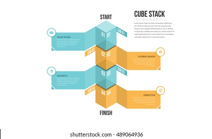 Vector illustration of cube stack infographic design element.