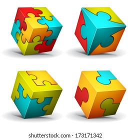 Vector illustration of cubes made of puzzle