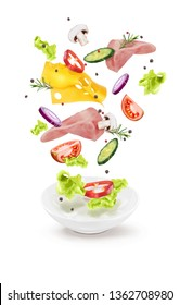 Vector illustration of a cucumber salad cheese meat mushrooms in a white plate