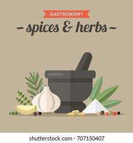Vector illustration of culinary spices and herbs with mortar and pestle. Flat style.