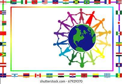 Vector Illustration for cultural event showing diversity and 36 different flags.