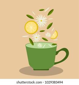 vector illustration cup with chamomile, tea and lemon on a pastel background