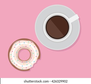 Vector illustration of cup of coffee and donut. View from above. Lunch.