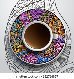 Vector illustration with a Cup of coffee and hand drawn ornament on a saucer and background