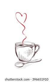 Vector illustration. Cup with a hot drink and steam in the form of heart