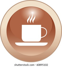 The vector illustration of the cup of the hot drink over the white background.