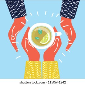 Vector Illustration of cup of cup tea. Top view. Herbal