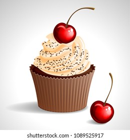 Vector illustration - cupcake with cream and cherry, sprinkled with chocolate. eps10.